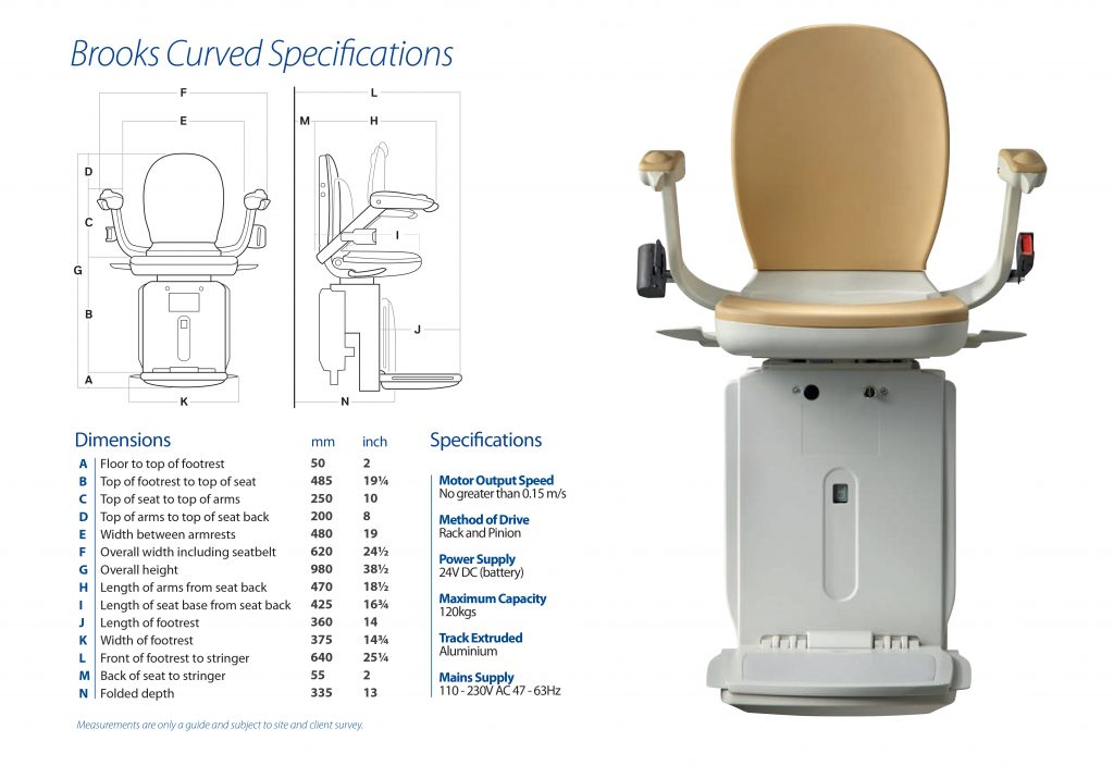 Brooks 180 curved stairlift dimensions from Central Mobility