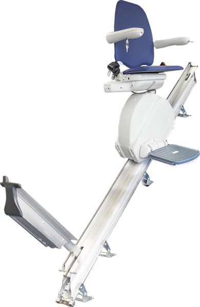 MediTek D120 straight stairlift with powered hinged rail