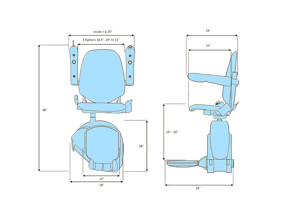 MediTek straight stairlift sizes