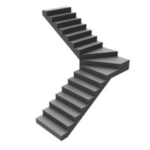 Single Bend Fan Curved Staircase design
