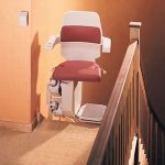 stannah curved stairlift with seat swivelled