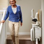 Brooks 180 curved stairlift folds away neatly