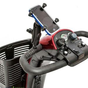 Mobility scooter phone holder