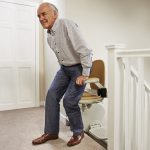 Acorn stairlift seat swivels at the top of the stairs