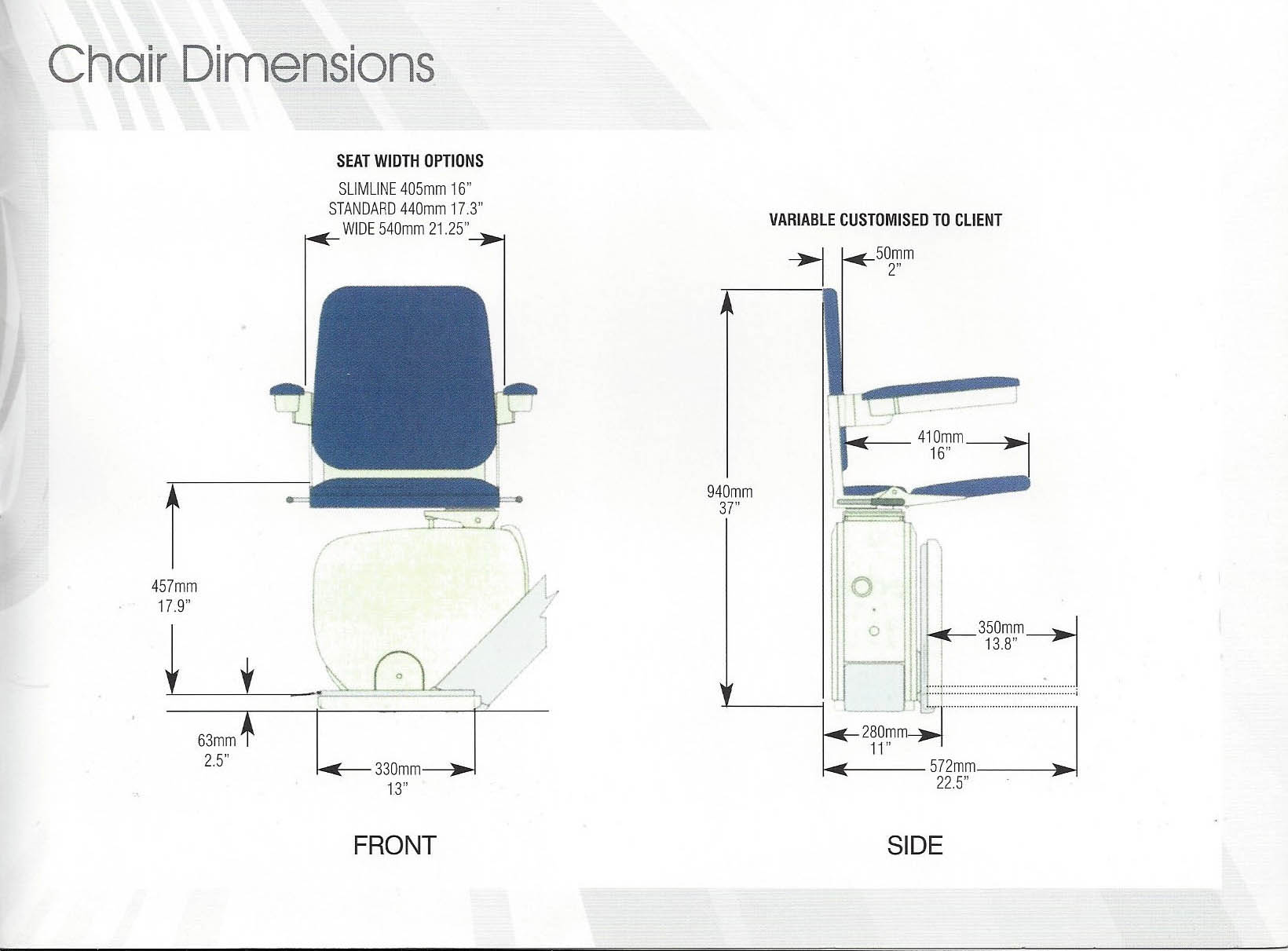 liftable cumbria chair dimensions