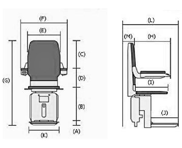 Reconditioned Stannah stairlift dimensions