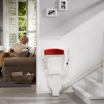 Otolift one new curved stairlift folded and parked on charge