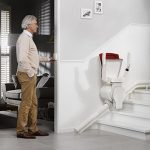 Otolift one new curved stairlift moving remotely