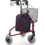 Lightweight aluminium red 3 wheeled tri-walker from Central Mobility