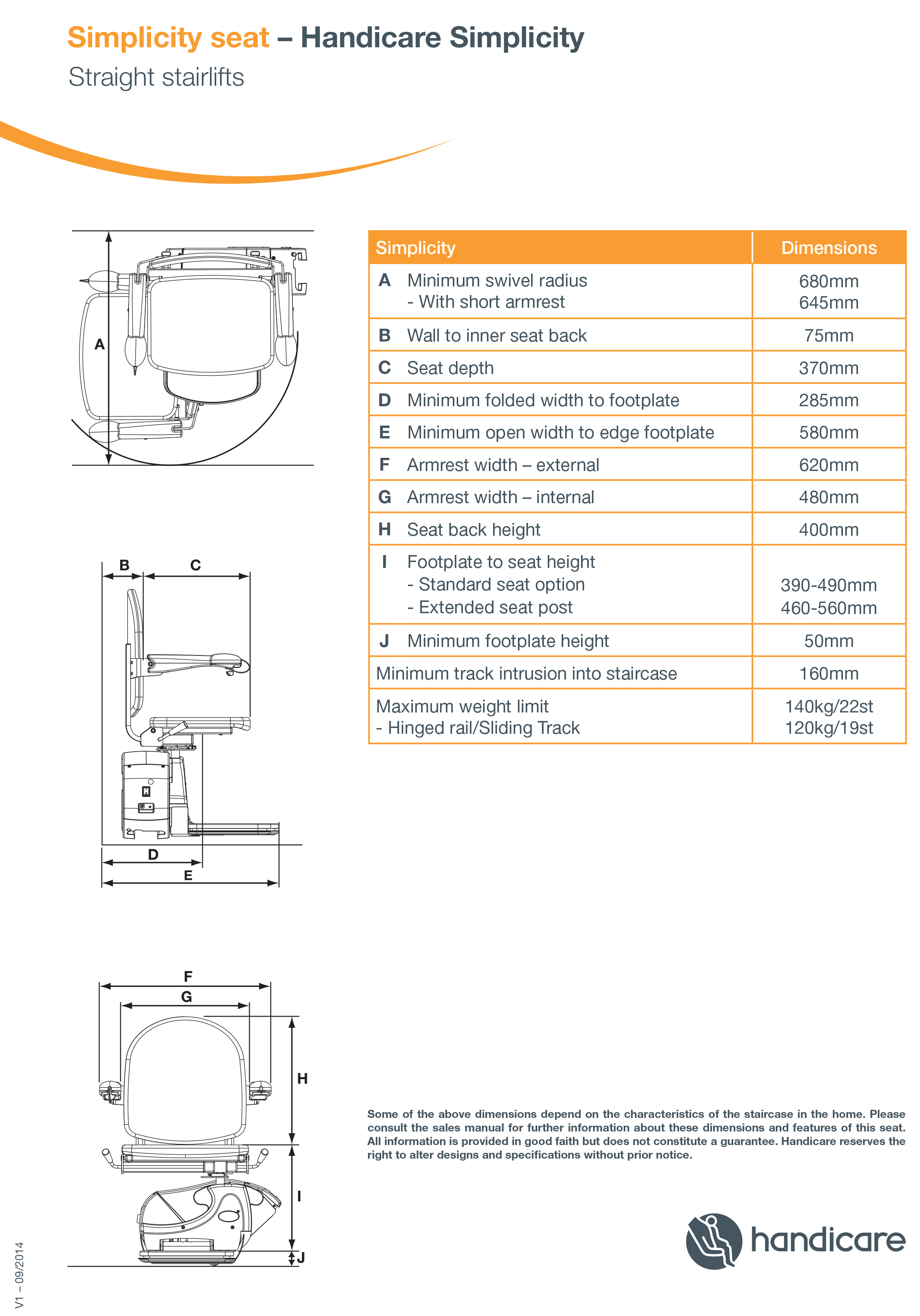 handicare simplicity straight stairlift dimensions
